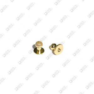 020/DM STUD 9X9 BALL 6 DIAMOND BRASS
