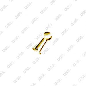 2476 POMOLO PER FIBBIA 5X10 SFERA 4,5 OTTONE