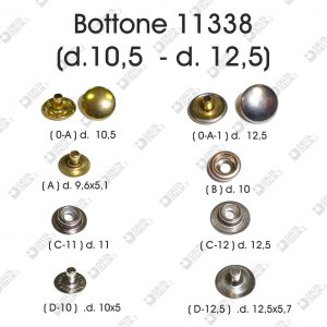 11338 PRESSION BUTTON D.10,5-D. 12,5 BRASS